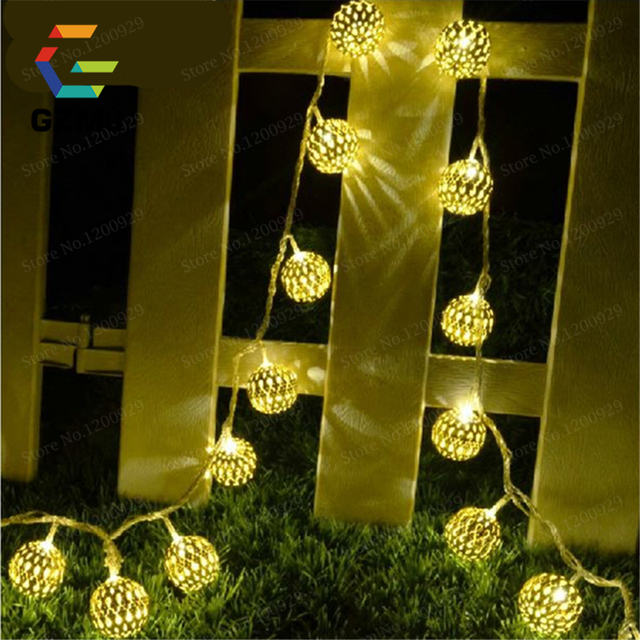 Holiday LED Lighting Metal Ball String Fairy Lights Wedding Party Tree Garden  Christmas Decoration New Year Christmas Garlands