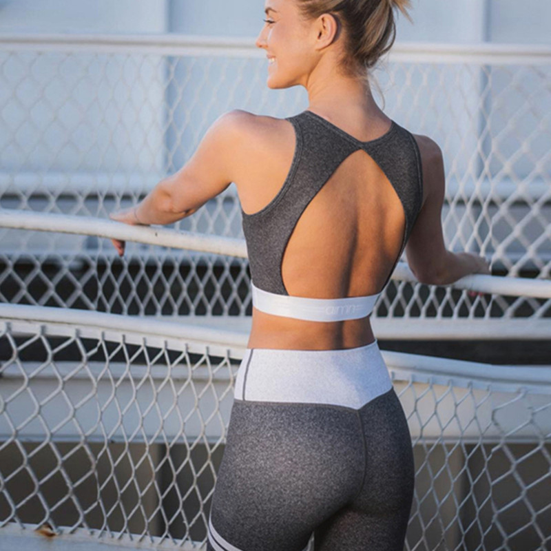Sports & Entertainment Women Yoga Set Mesh Splice Running Set Port Bra Leggings Sports Suit Vintage Sports Clothing Gym Tracksuit Yoga Jumpsuit Workout Fitness & Body Building