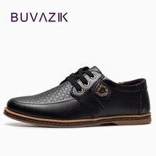 BUVAZIK 2017 stor storlek 46 47 casual skor män ko läder högkvalitativa mode spetsar upp manliga äkta läder bekväma