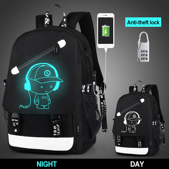 USB Charger School Bag Animation Luminous Laptop Backpack Boy Rucksack School Bags School Backpacks For Boys Kids Backpack Child