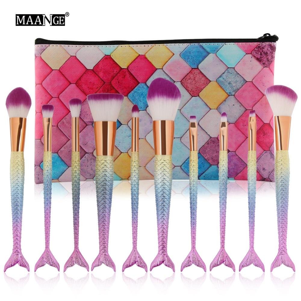 MAANGE 10pcs Mermaid Makeup Foundation Brushes Set Powder Blusher Eyeshadow Lip Cosmetics Make Up Brushes With PU Leather Case
