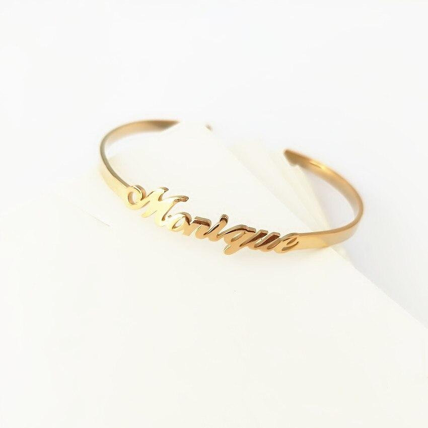 Custom Jewelry Personalized Name Bangle For Women Gold Signature Bracelet Bangle Adjustable Armbanden Voor Vrouwen Christmas