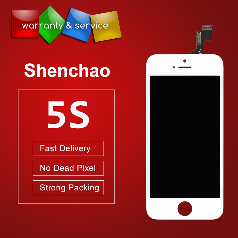 10pcs ShenChao Quality Replacement Phone Parts For iphone 5S LCD Screen Digitizer Display Assembly Black&White No Dead Pixel