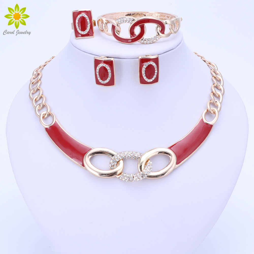 5Colors Jewelry Sets Necklace Ring Bracelet Earrings Wedding Gold Color For Women Crystal Maxi Dress Accessories