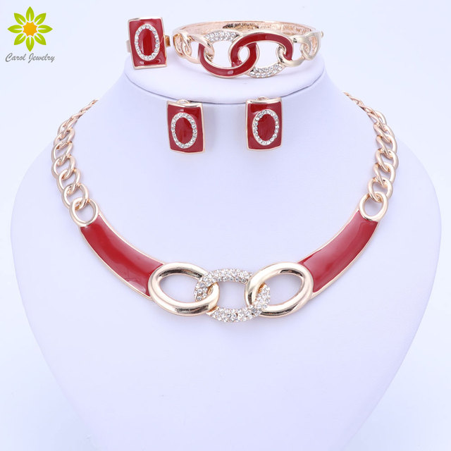 5Colors Jewelry Sets Necklace Ring Bracelet Earrings Wedding Gold Color For Wome