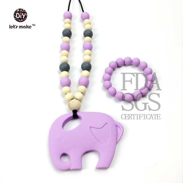 baby teether necklace Silicon Nursing necklace or teething necklace elephant, tear drop, round beads Safe for teething baby gift