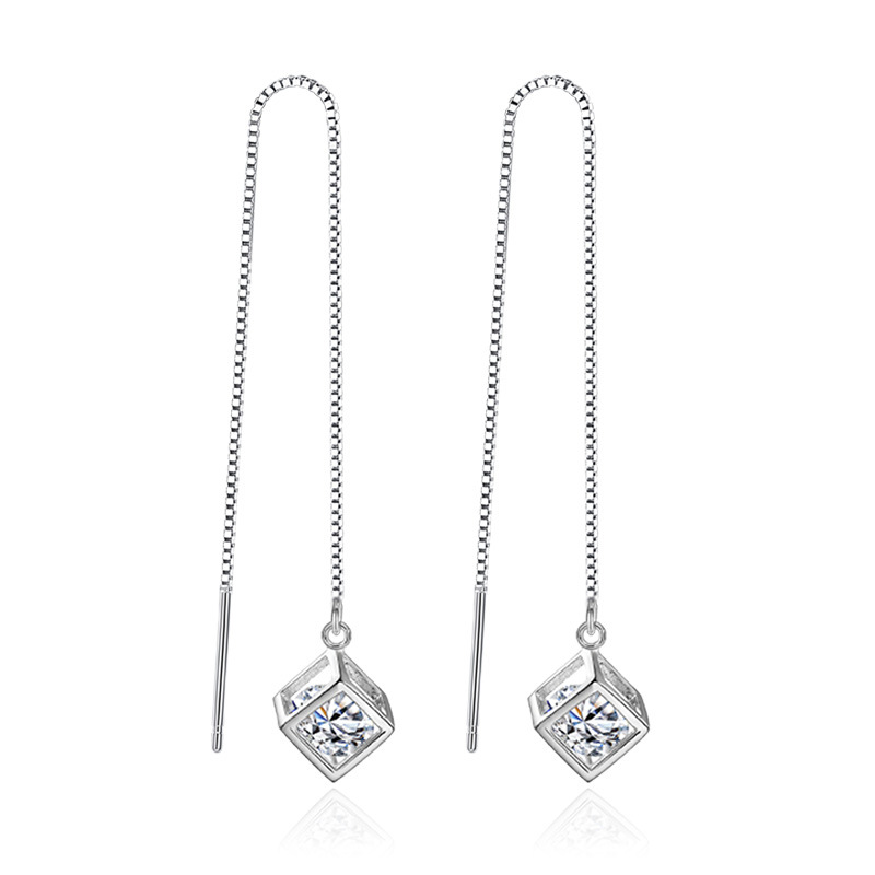 XIYANIKE Box Tassel Earrings Fashion Jewelry 2017 925 Sterling Silver Long Earrings For Women Girl Brincos Jewelry Gift VES6713