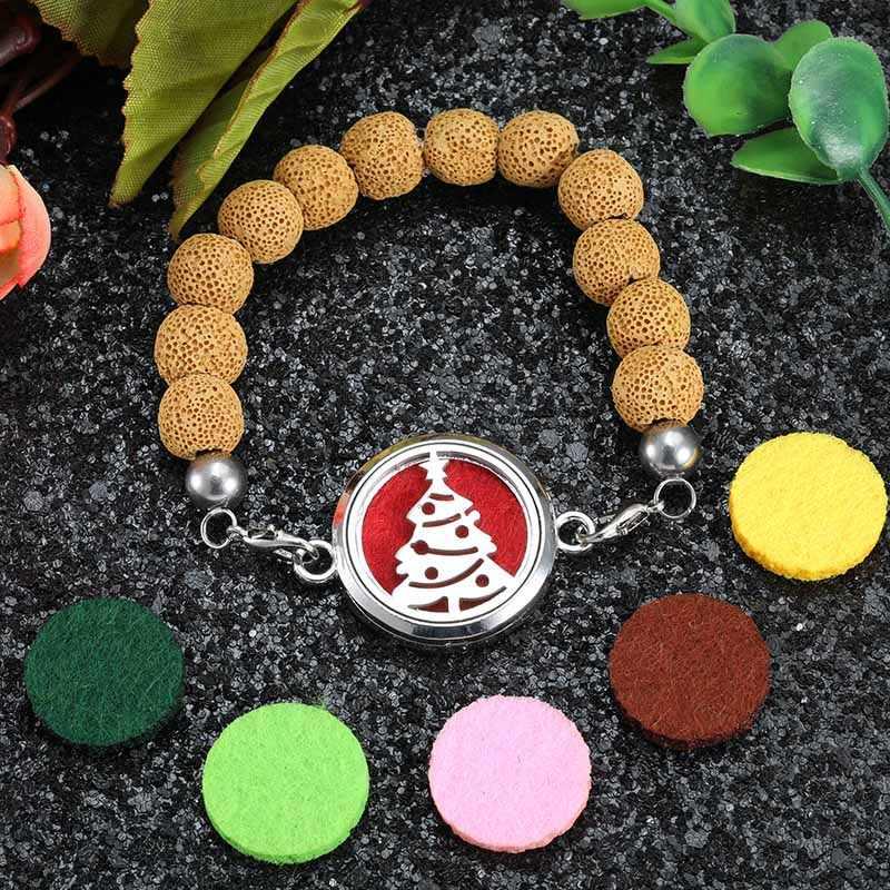 Natürliche Lava Rock Stein 12 Farbe Perlen Weihnachten baum Edelstahl Ätherisches Öl Diffusor Aromatherapie Box Armbänder Schmuck