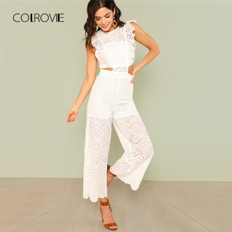 COLROVIE Eyelet Embroidery Wide Leg Ruffle Women Jumpsuit 2018 New White High Waist Summer Jumpsuit Hollow Out Elegant Jumpsuit