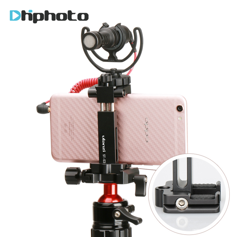 Ulanzi Metal Phone Tripod Mount Adapter w Cold Shoe for Rode Videomicro Mic, Smartphone Tripod Quick Release Plate for manfrotto