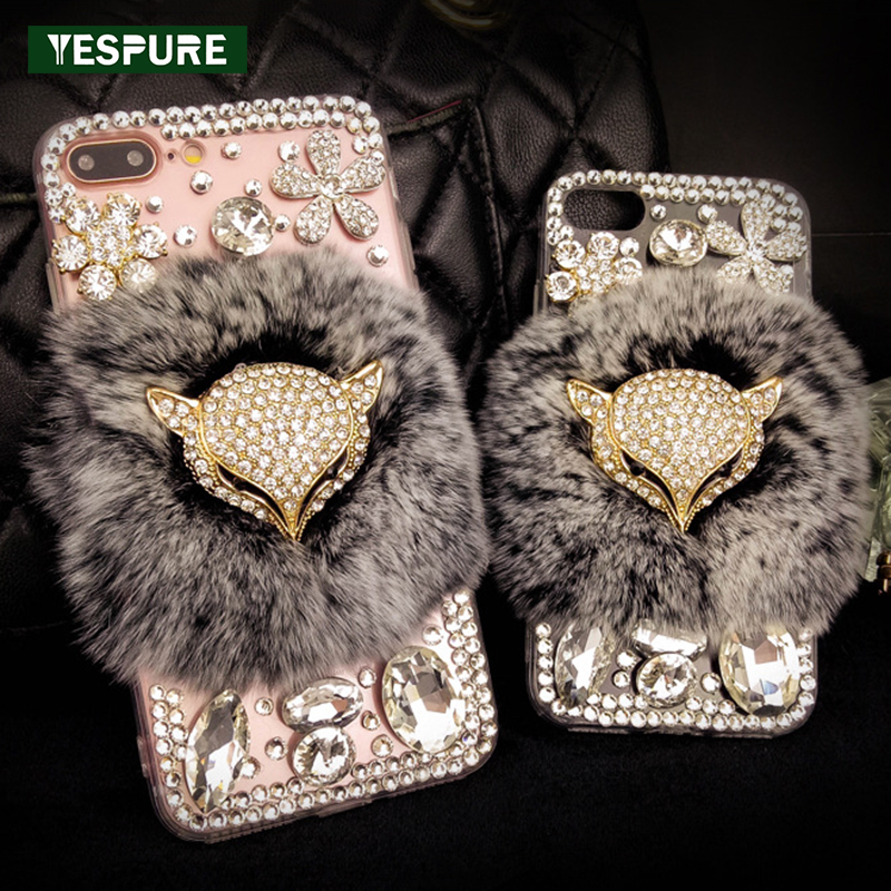 YESPURE Fancy Crystal Fox Phone Cover <font><b>Case</b></font> for <font><b>Iphone</b></font> 6 6s plus <font><b>Case</b></font> <font><b>Luxury</b></font> Women Sexy <font><b>Fur</b></font> Fundas Para Antigravity Mobile <font><b>Cases</b></font> image