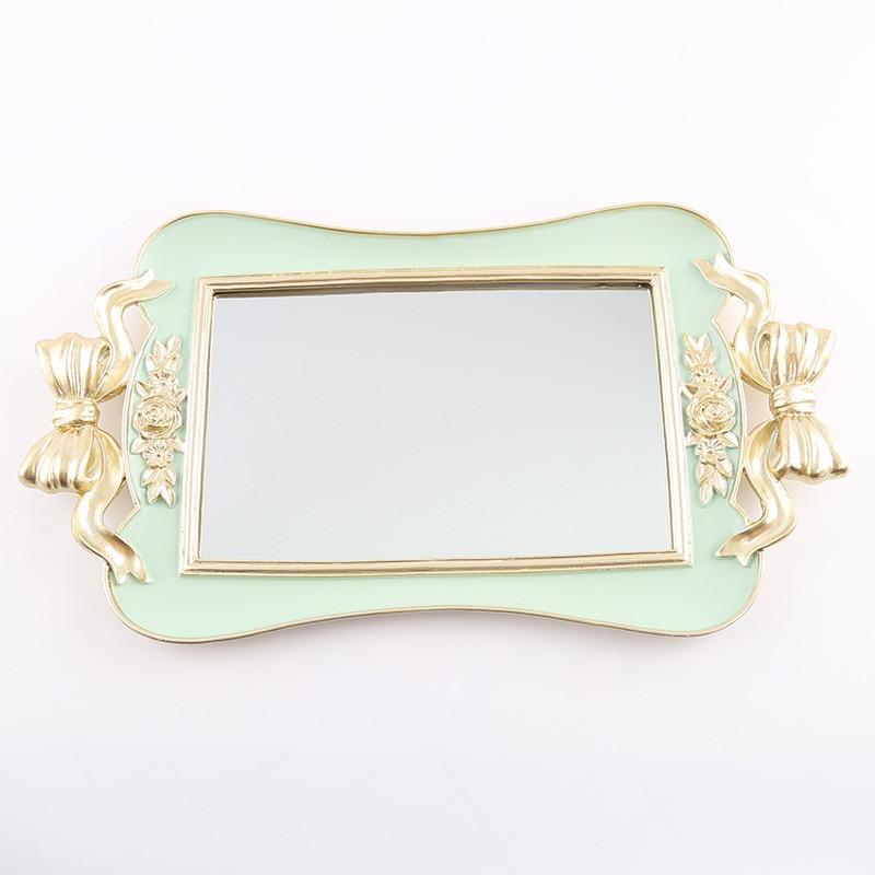 Rectangular Resin Mirror Green Storage Trays Jewelry Dish Dessert Cake Plate Kitchen Organization Cosmetics Wedding Ring Tray