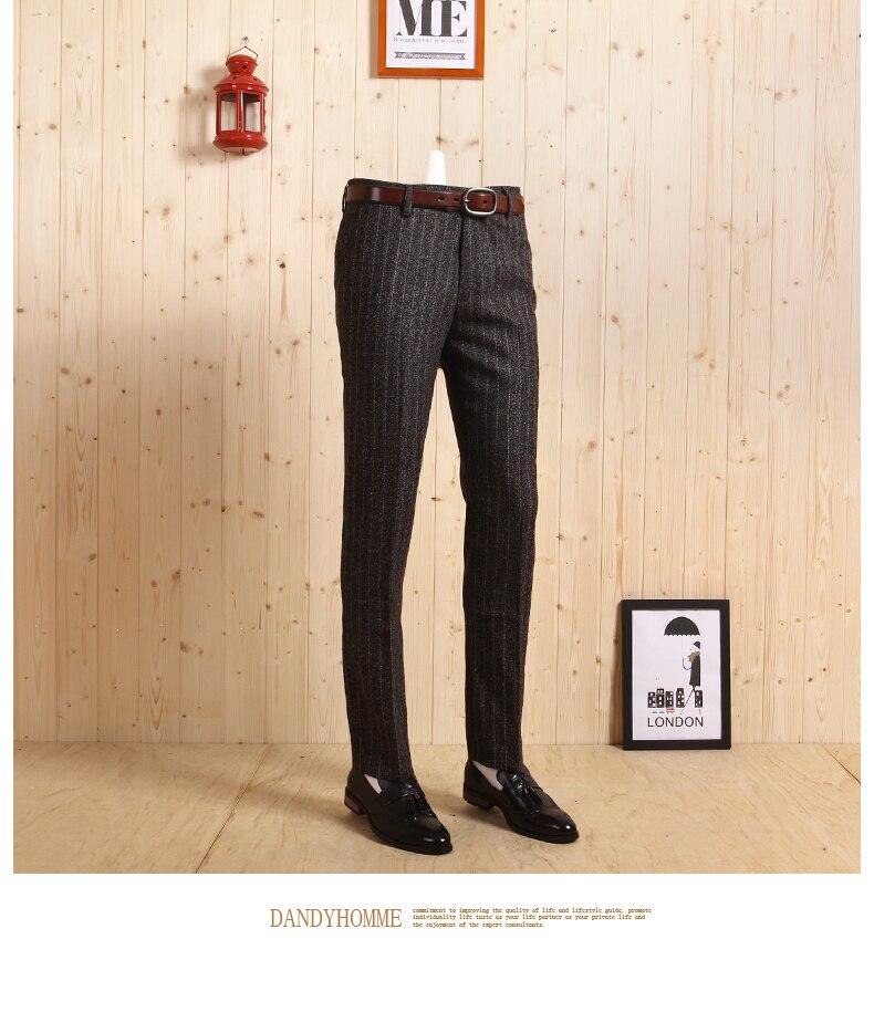 Высокое качество весна-осень мужской тонкий в Корейском стиле; Повседневный утепленный темно-серого цвета и полосатыми штанишками с деловой, Свадебный, для жениха костюмы длинные штаны