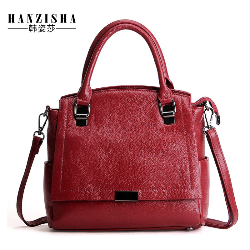 2018 New Brand Fashion Genuine Leather Women Handbag Luxury Design Solid Cow Leather Women Shoulder Bag Casual Ladies Tote Bag 2018 new women fashion genuine cow leather luxury ol style handbags female brand shoulder bag casual tote cross body bag