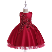2019 Spring Party Dress Girl Lace Cute Ball Gown Dresses for Girls Sleeveless Solid O neck Children `s Dress Europe Costume Kids