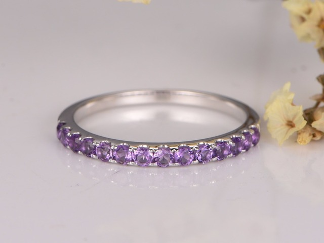 MYRAY 14K White Gold Wedding Band Diamond Wedding Band Natural Amethyst  Wedding Band Pave Diamond Ring