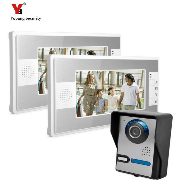 Yobang Security Freeship  7 Inch Rainproof Video Intercom Doorbell Video Door Phone Audio Visual Entry Intercom System 2 Monitor the door chai non visual intercom doorbell telephone rainproof function