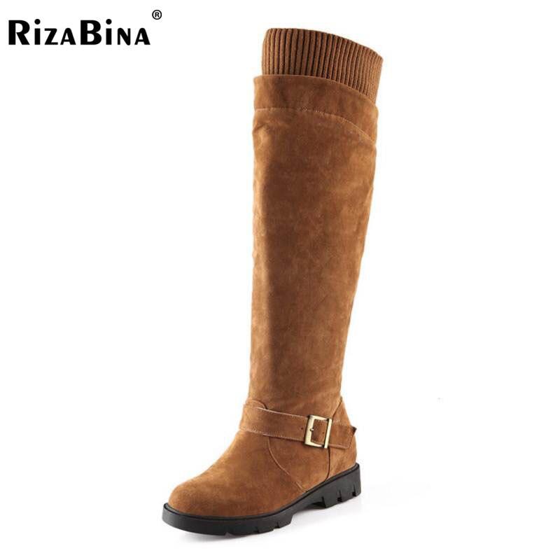 dd57647fe74 Gruesa Botas Rojo Frío Pisos Rodilla Piel amarillo Tamaño Metal Zapatos  Rizabina Hebilla 43 Calzados Mayores ...