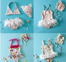 2017 red ju Gc 2 handmade crochet bikini bandeau bow halter swimwear kids Floral bottom swimsuit hot summer suit swim suit