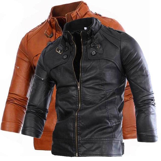 Nuevas llegadas hombres de la moda de color sólido de la pu de la motocicleta chaqueta de cuero ocasional de la capa outwear 2 colores M XXL ACL34