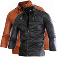 new arrivals fashion men leather jacket solid color pu motorcycle casual coat outwear 2 color M XXL ACL34