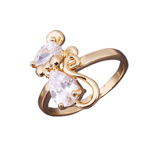 Fashion Jewelry Diamante Cute Mouse Finger Ring  Gold Filled Jewelry USA #7 #8       SL