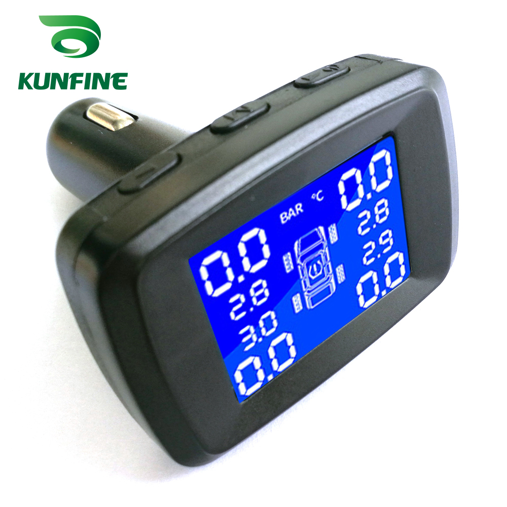 Smart Car TPMS Tyre Pressure Monitoring System Cigarette Lighter Digital LCD Display Auto Security Alarm Systems With 4 Sensors C (2)
