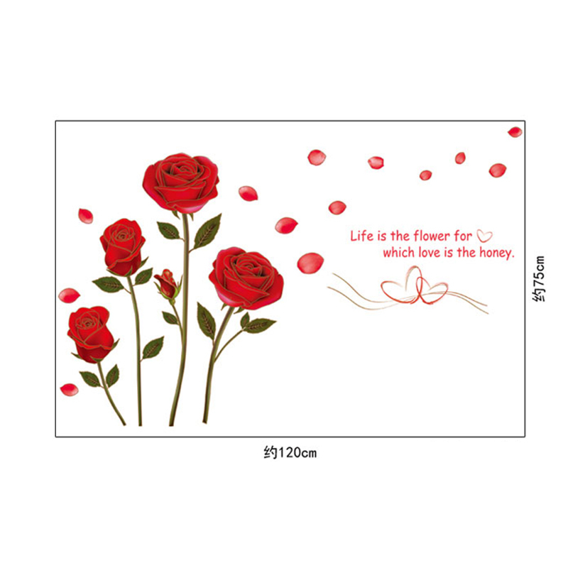 Flying Red Rose Love Quotes Romantic Flower Wall Stickers Living