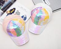 C17902 Fashion Full And Winter Shimmer Rainbow Sequin Cotton Cap Hats Colors Bling Sequin Decoration Caps