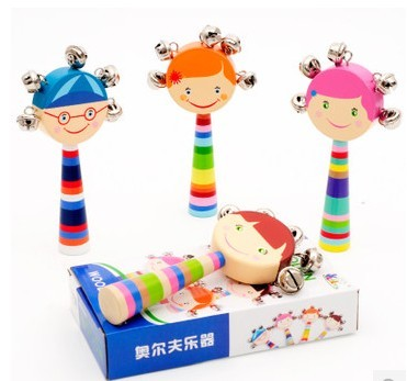 Baby Rattle Ring Wooden Toys Musical Instruments 0-12 Months Music Education YJU