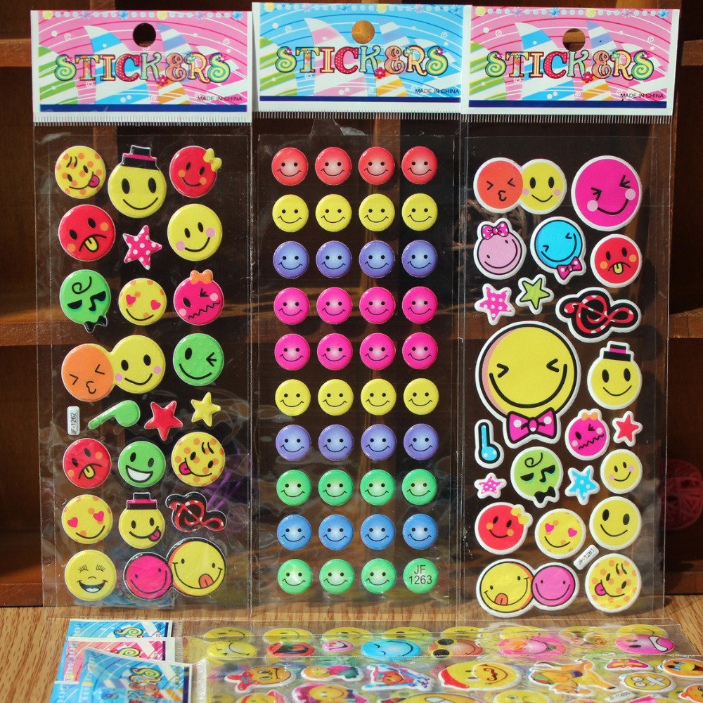 40pcs Fashion Brand Kids Toys Cartoon Emoji Smile face Expression 3D Stickers Children PVC Stickers Bubble
