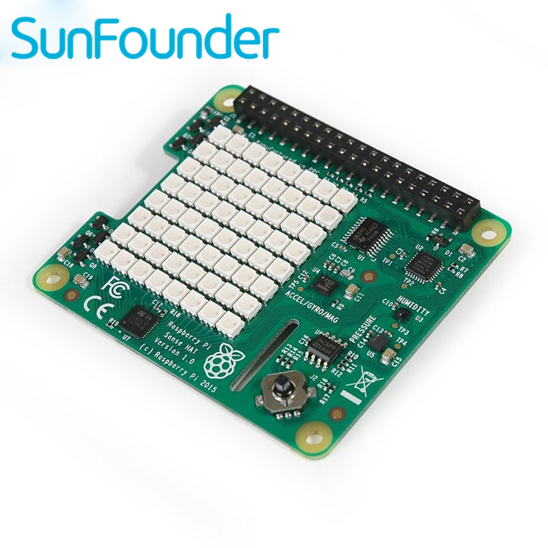 Sunfounder Raspberry Pi Sense HAT with Orientation Pressure Humidity and Temperature Sensors
