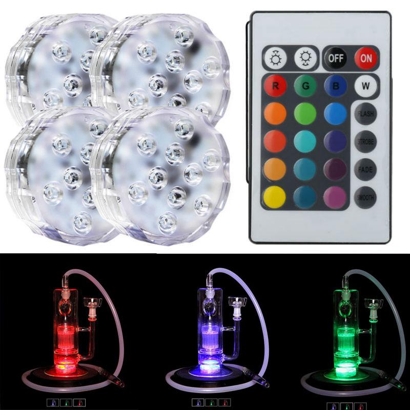 (1pieces/ lot) Al Fakher Shisha Tobacco Decorative 2.8inch Remote Controlled Led Glass Hookah Shisha Light Lamps