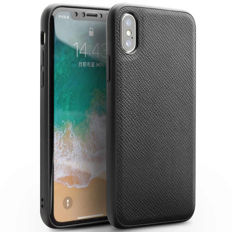 QIALINO Genuine Slot Para Cartão de Couro Do Caso Da Aleta para o iphone X Tampa Do Telefone Inteligente de Despertar do Sono Magnético para iPhoneX 5.8 polegadas