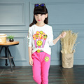 Girls Clothing Set Smiling Face Clothing Sets For Girls Cotton Tees & Pants Spring 2017 T-Shirts For Girls Trousers