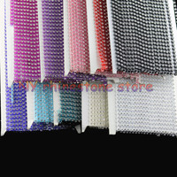 10Yards SS12 3mm AAA Grade Clear Glass Crystal Rhinestones Chain Trim 10 Color Plastic Chain Wedding