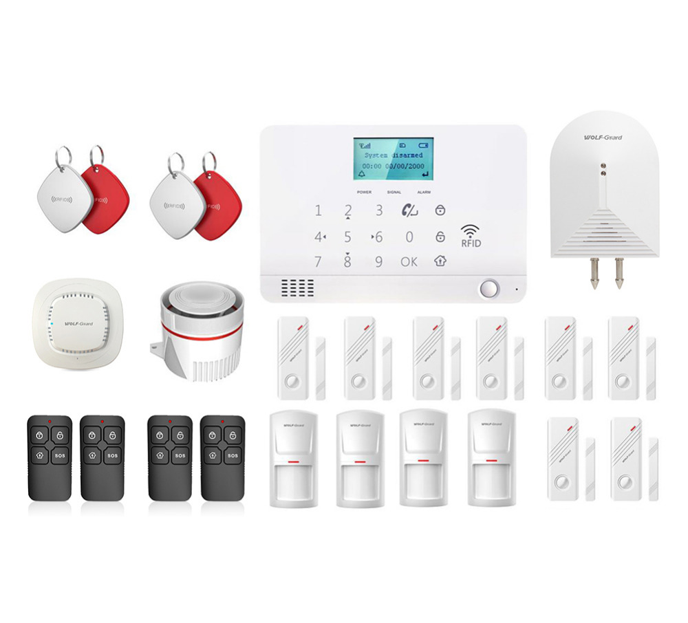 Wolf-Guard LCD GSM SMS RFID Wireless Home Alarm Security Burglar System 8 Door Sensor 4 PIR Detector 1 Smoke Detector 4 RFID free shipping 315mhz and 433mhz wireless rfid key tag for wolf guard gsm wireless security burglar home alarm system