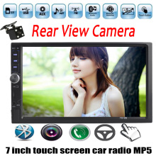 "Car Radio 2 Din stereo Double Din 7 ""Inch Rear Camera/USB/TF/FM/Auxin/touch screen/bluetooth/steering wheel control 4 languages"