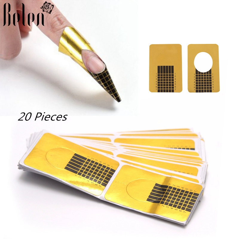 Belen 20pcs Nail Forms Tips Acrylic Gel Extension Sticker ...