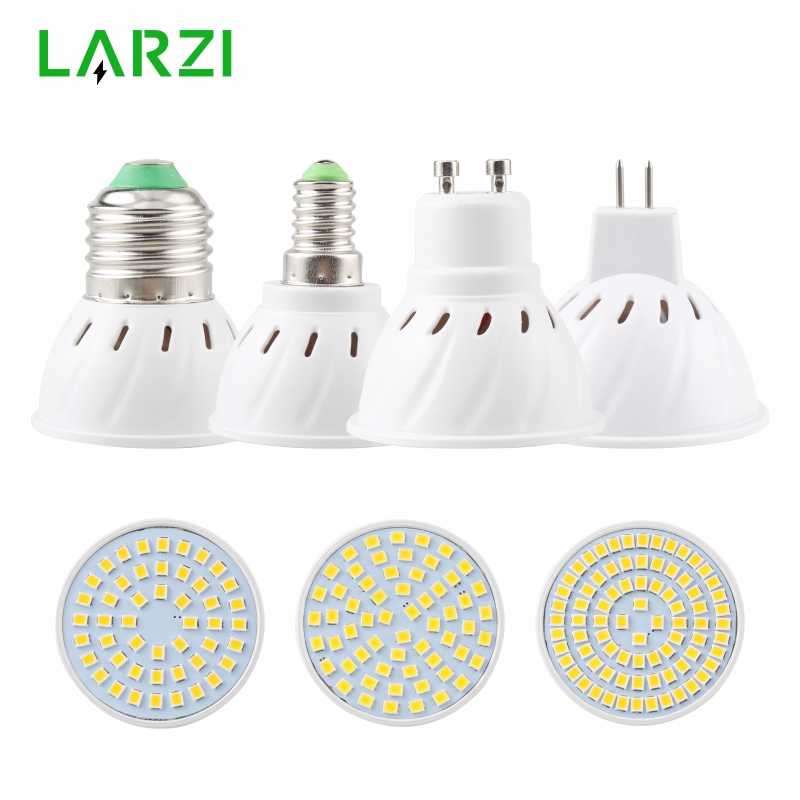 Lámpara LED LARZI E27 E14 MR16 GU10, bombilla LED de 110V, 220V, Bombillas foco para lámpara LED, 48 60, 80, 2835 SMD