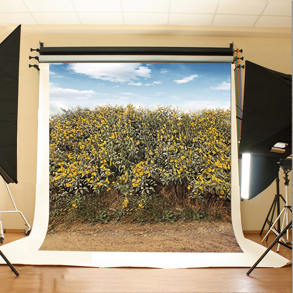 Wedding Photography Backdrops The Blue Sky and White Clouds Photographic Background Yellow Flowers Leaves Photo Video Studio 300cm 200cm about 10ft 6 5ft backgrounds blue sky and white clouds floating in the waves one a cotton farm ra lk 1167