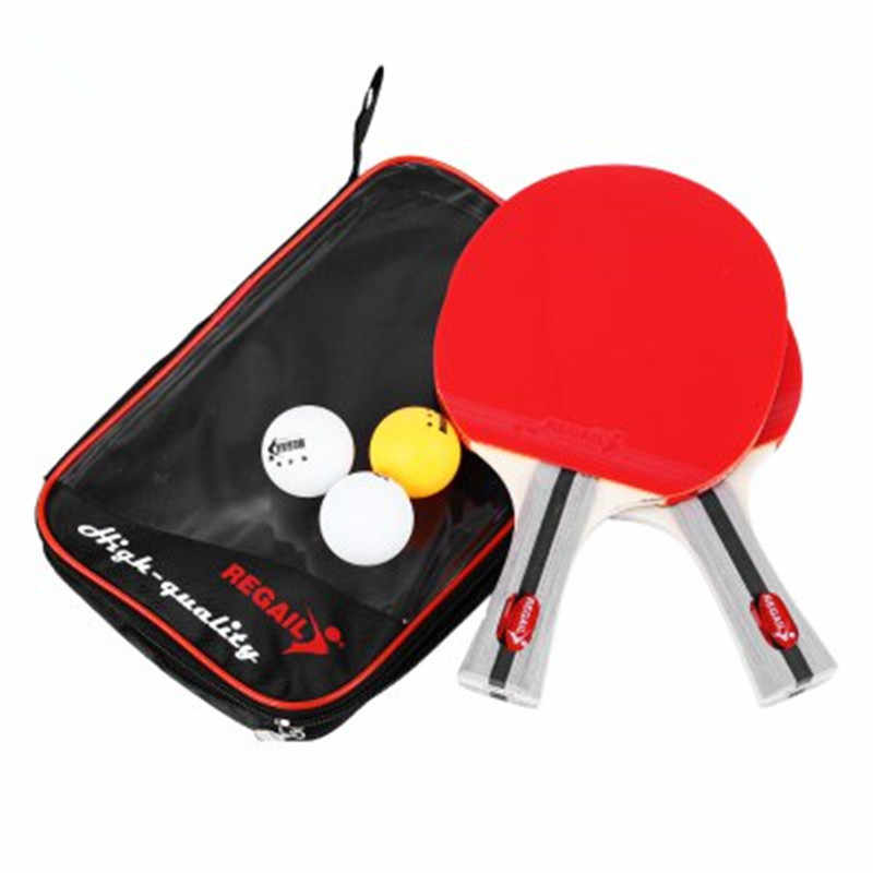 Table Tennis Ping Pong Racket Two Shake-hand Grip Bat Paddle Three Balls Light Tip Heavy Handle Table Tennis Racket