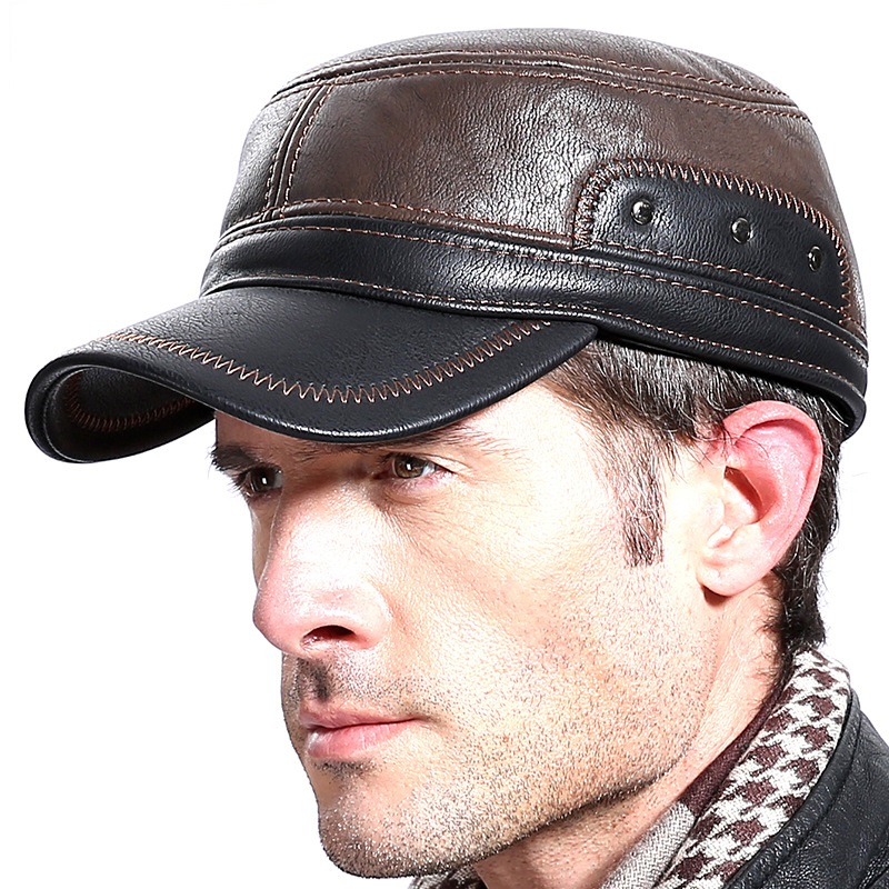 Men's Outdoor Leisure   Cap   Adult Genuine Leather Hat Male Winter Ear Protection Flat Peaked   Cap   Youth Leisure   baseball     Cap   B7224