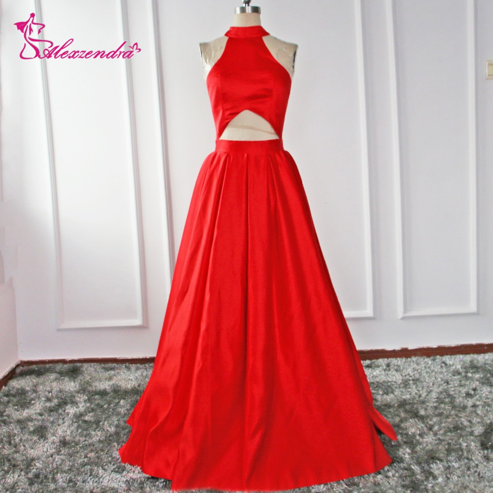 Alexzendra Cut Out Design Long   Prom     Dresses   Plus Size Halter Up Party Evening   Dress   for Girls