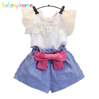 Hot Sale Girls Clothes Lace Short Sleeve Tracksuits 2pcs Suit Korean Brand Baby Girls Kid Clothing