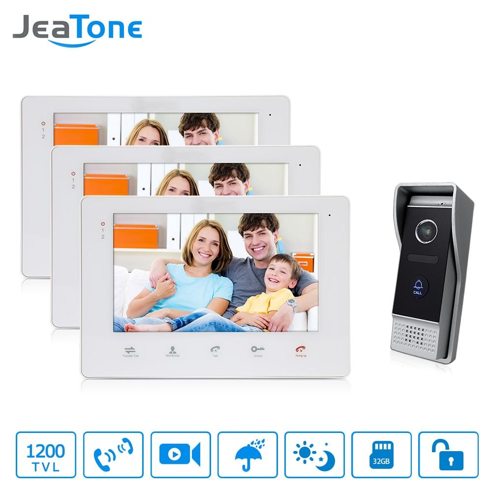 JeaTone Home Security 7 Video Door Phone Doorbell Intercom Monitor 3v1 IR Camera Electric Strike Lock