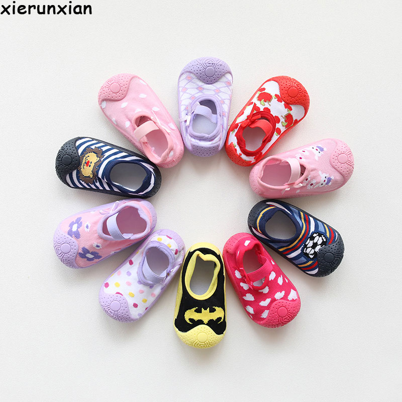 Shoes Rubber-Soles Soft-Sole Newborn Infant Baby-Girl Anti-Slip with Sock Children Floor