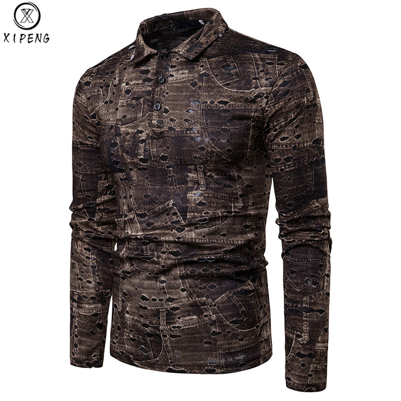Fashion Jeans Print Hole Polo Shirt Men 2019 Retro Long Sleeve Coffee Gray Polos Shirts Slim Fit Hippie Swag Ripped Camisas Polo