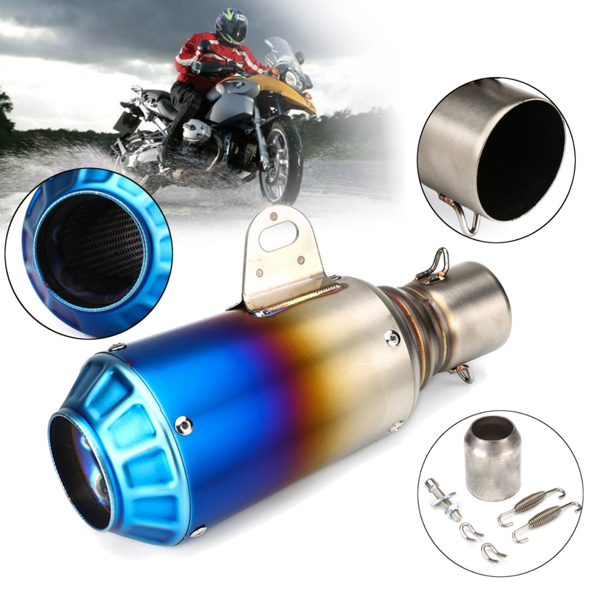 38-51mm Stainless Steel Universal Motorcycle Exhaust Pipe System Modified Outlet Without Muffler Dirt Street Bike Scooter ATV