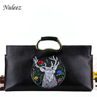 Nuleez 100% real leather cowhide Day clutches women hand carved 3d deer pattern vintage 2018 new